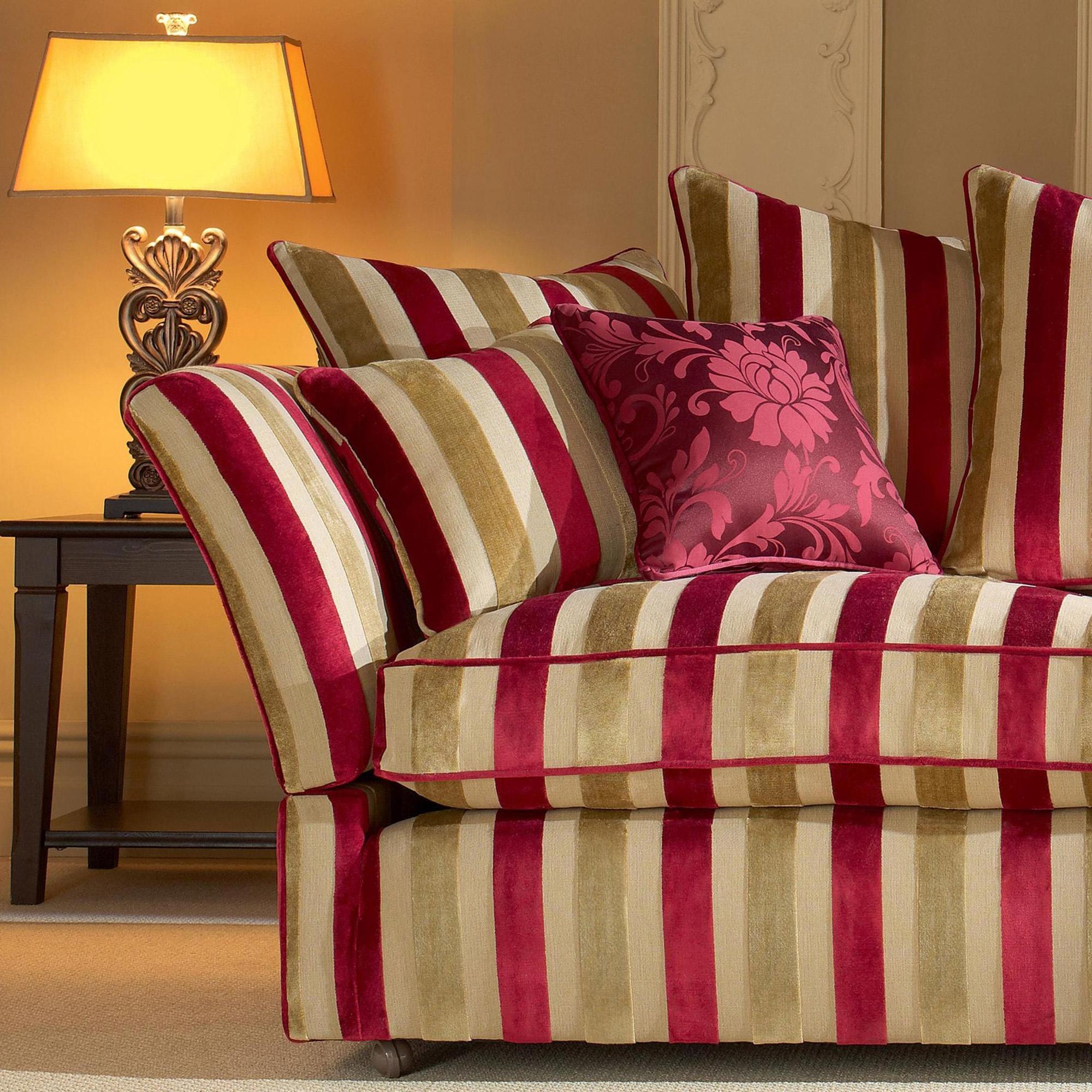 Fabric Details Venetian Stripe Claret Gold Fabrics Range